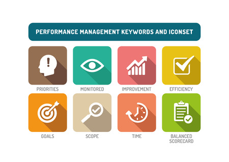 communicated: Performance Management Flat Icon Set Illustration