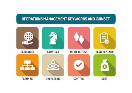 Operations Management Flat Icon Set