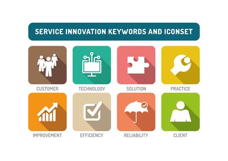 Service Innovation Flat Icon Set Illustration