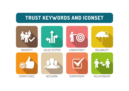 belief system: Trust Flat Icon Set Illustration