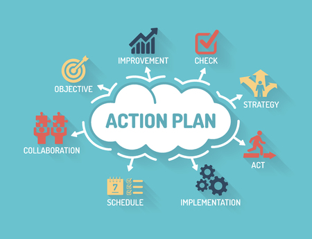 action plan: Action Plan - Chart with keywords and icons - Flat Design