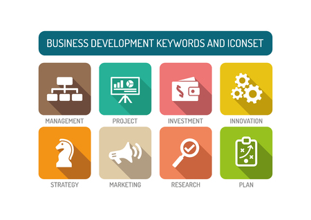 smart goals: Business Development Flat Icon Set