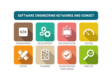 software engineering: Software Engineering Flat Icon Set Illustration