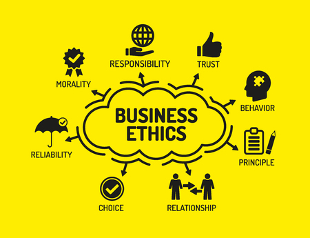 business ethics: Business Ethics. Chart with keywords and icons on yellow background Illustration