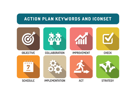 implement: Action Plan Flat Icon Set