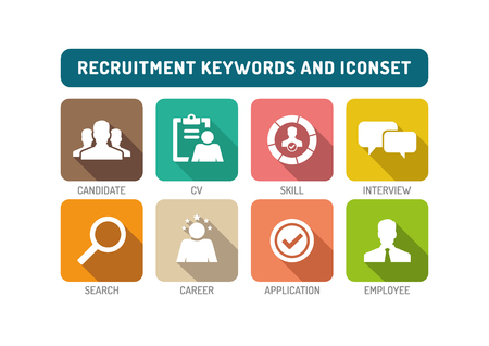 Recruitment Flat Icon Set Stok Fotoğraf - 61464143