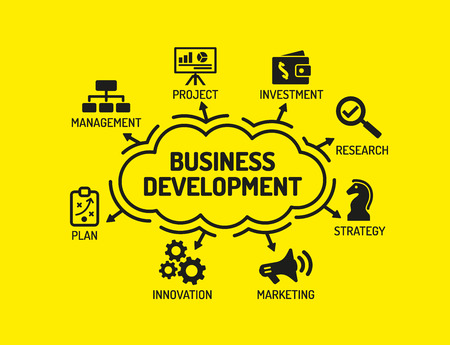 Business Development. Chart with keywords and icons on yellow background 向量圖像