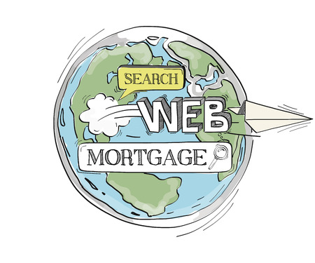 creditworthiness: COMMUNICATION SKETCHMortgage TECHNOLOGY SEARCHING CONCEPT Illustration