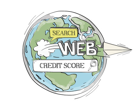 creditworthiness: COMMUNICATION SKETCHCredit Score TECHNOLOGY SEARCHING CONCEPT