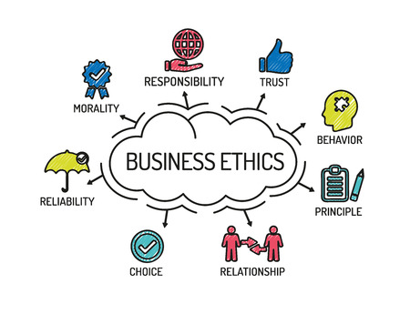business ethics: Business Ethics. Chart with keywords and icons. Sketch