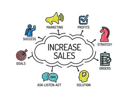increase sales: Increase Sales. Chart with keywords and icons. Sketch