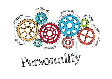 Engranajes y mecanismo de la personalidad Ilustración de vector