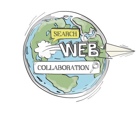 communication concept: COMMUNICATION SKETCHCollaboration TECHNOLOGY SEARCHING CONCEPT Illustration
