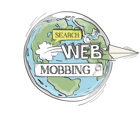 mobbing: COMMUNICATION SKETCHMobbing TECHNOLOGY SEARCHING CONCEPT Illustration