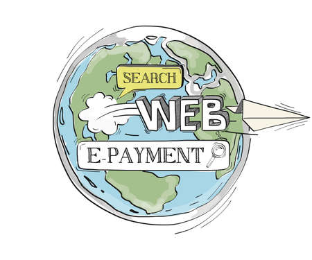 epayment: COMMUNICATION SKETCH E-PAYMENT TECHNOLOGY SEARCHING CONCEPT Illustration