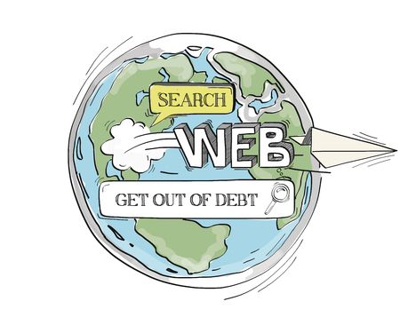 foreclosure: COMMUNICATION SKETCHGet Out Of Debt TECHNOLOGY SEARCHING CONCEPT Illustration