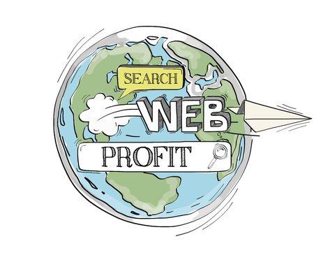 profitability: COMMUNICATION SKETCHProfit TECHNOLOGY SEARCHING CONCEPT Illustration