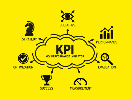 KPI Key Performance Ind?cator. Chart with keywords and icons on yellow background Stock Illustratie