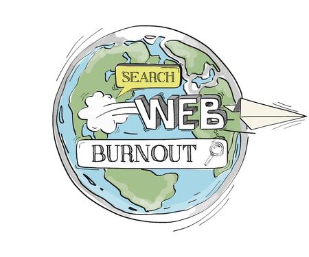 burnout: COMMUNICATION SKETCH BURNOUT TECHNOLOGY SEARCHING CONCEPT Illustration