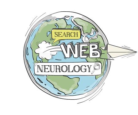 neurology: COMMUNICATION SKETCH NEUROLOGY TECHNOLOGY SEARCHING CONCEPT Illustration