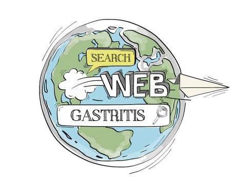 chronic gastritis: COMMUNICATION SKETCH GASTRITIS TECHNOLOGY SEARCHING CONCEPT Illustration