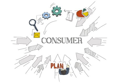 consumer society: Arrows Showing CONSUMER Illustration