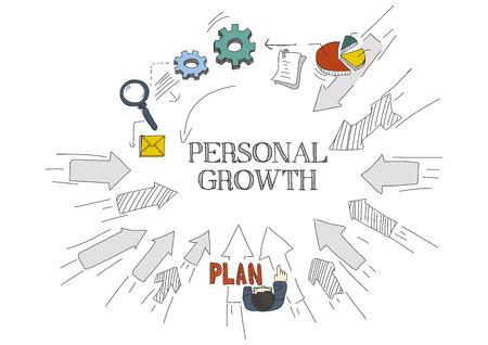 crecimiento personal: Las flechas muestran CRECIMIENTO PERSONAL Vectores