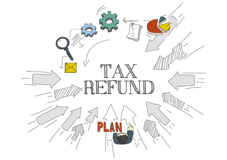 refund: Arrows Showing TAX REFUND