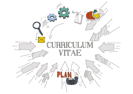 contact details: Arrows Showing CURRICULUM VITAE Illustration