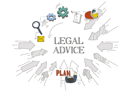 counsel: Arrows Showing LEGAL ADVICE Illustration