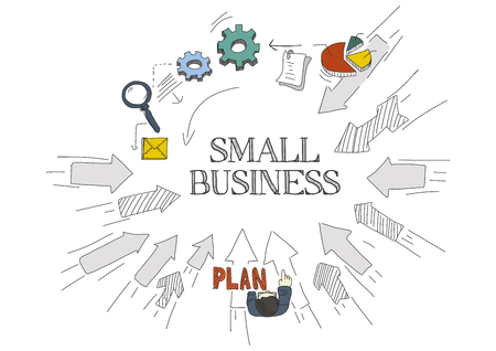 small business: Arrows Showing SMALL BUSINESS Illustration