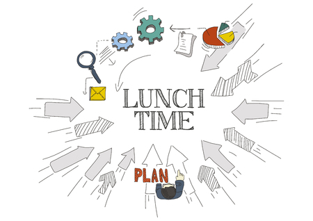 take time out: Arrows Showing LUNCH TIME Illustration