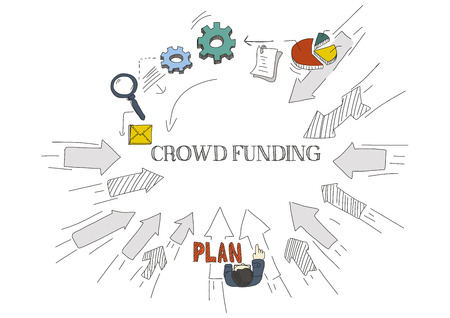funding: Arrows Showing CROWD FUNDING