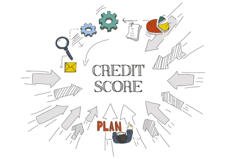 creditworthiness: Arrows Showing CREDIT SCORE Illustration