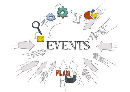 doddle: Arrows Showing EVENTS Illustration