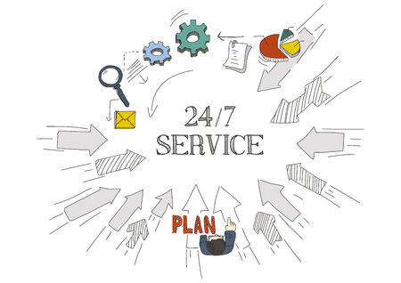 24x7: Arrows Showing 247 SERVICE Illustration