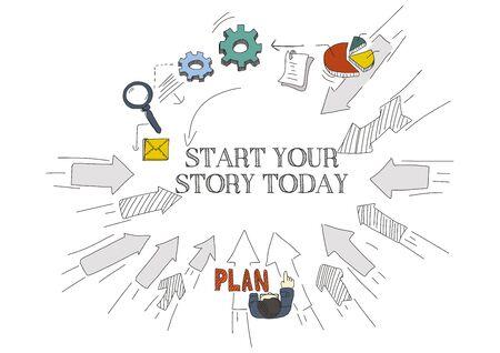 Arrows Showing START YOUR STORY TODAY Vektorové ilustrace