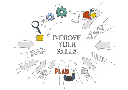 self employed: Arrows Showing IMPROVE YOUR SKILLS Illustration