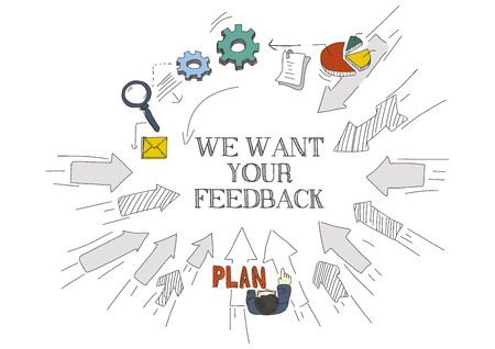 want: Arrows Showing WE WANT YOUR FEEDBACK Illustration