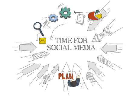 textcloud: Arrows Showing TIME FOR SOCIAL MEDIA