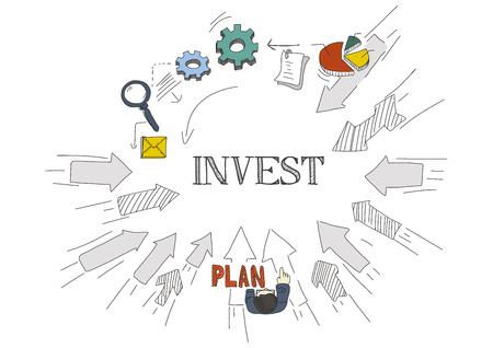 economic interest: Arrows Showing INVEST Illustration