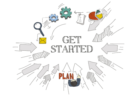 commence: Arrows Showing GET STARTED