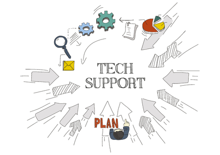 Arrows Showing TECH SUPPORT Illustration