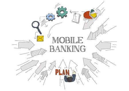 mobile banking: Arrows Showing MOBILE BANKING