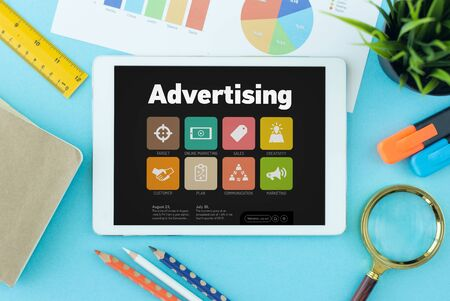 publicity: Advertising Concept on Tablet PC Screen Stock Photo