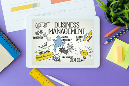Business Management Concept on Tablet PC Screen