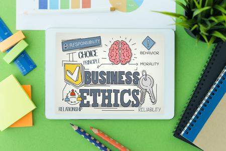 Business Ethics Concept on Tablet PC Screen Stock Photo