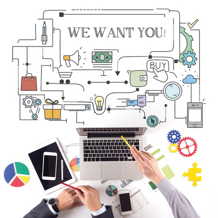 we the people: PEOPLE WORKING WORKPLACE TECHNOLOGY TEAMWORK WE WANT YOU! CONCEPT Stock Photo