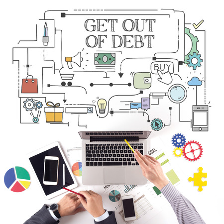 get out: PEOPLE WORKING WORKPLACE TECHNOLOGY TEAMWORK GET OUT OF DEBT CONCEPT Stock Photo