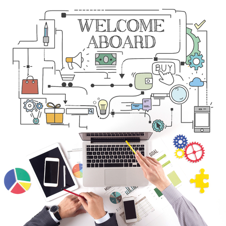 aboard: PEOPLE WORKING WORKPLACE TECHNOLOGY TEAMWORK WELCOME ABOARD CONCEPT